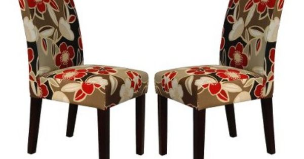 Elegant Red Floral Parson Chair Set of 2 – Floral Dining Chairs