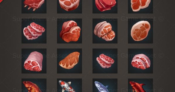 Meat Fish Rpg Crafting Icon Set Game Icons Game Icon Food Icons Game Assets