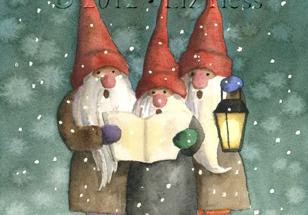 caroling gnomes watercolor by liz hess. Black Bedroom Furniture Sets. Home Design Ideas