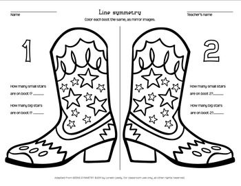 Cowboy Boot Line Symmetry Coloring Page Classroom Themes