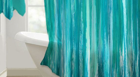 Abstract Shower Curtain Art Aqua Teal And Turquoise
