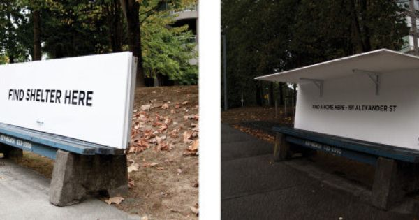 When An Organization In Vancouver Created Bus Benches That Double As Shelter For The Homeless When It Rains Homeless Shelter Street Furniture Shelter