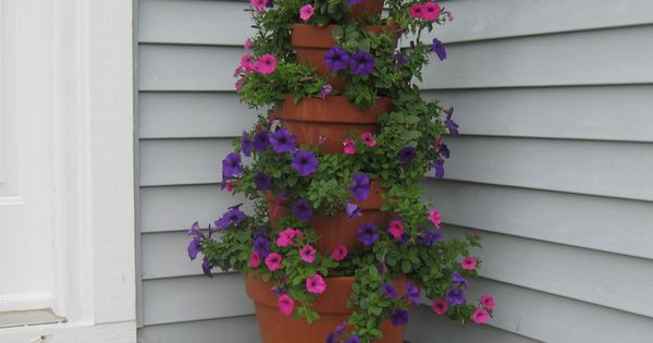 How to Make A Terracotta Pot Flower Tower with Annuals | The