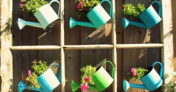 watering can planters love it an old window frame