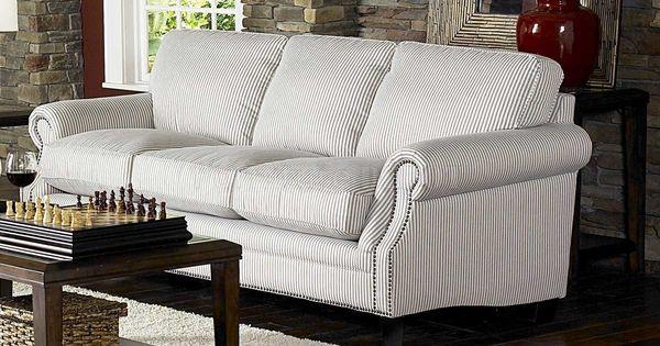 Blue Stripe Sofas White Blue Striped Fabric Cottage Style Sofa Loveseat Set Sofas