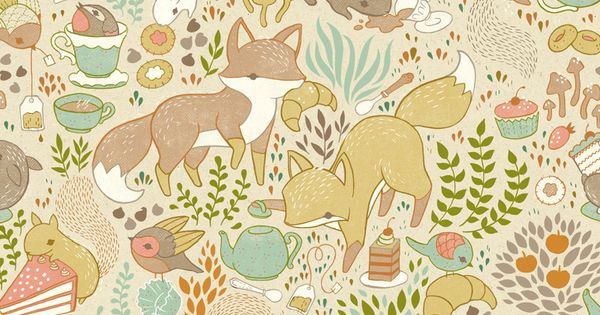 Children's Illustration 1 by teagan white- animal tea party. Great wallpaper print