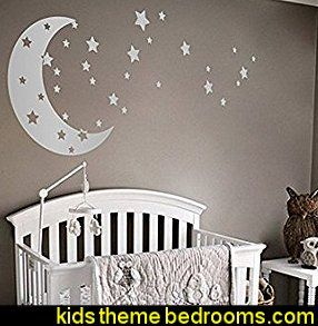 Moon And Stars Night Sky Vinyl Wall Art Decal Sticker Design For Nursery Room Baby Boy Room Decor Nursery Baby Room Nursery Room Diy