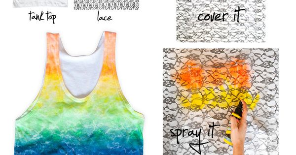 DIY Rainbow Lace Tank @Ashley Nail next tie dye party! haha