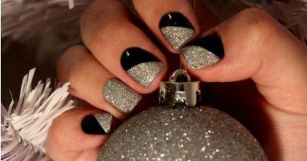 black silver nail art great for Christmas