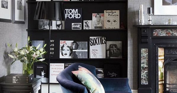 Black wall and book shelves