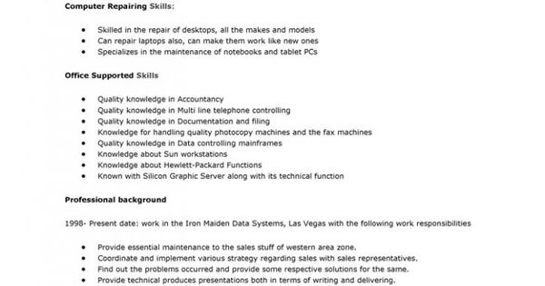 Technician Resume Self Employed Computer Sample Template   Computer  Technician Resume Sample  Computer Technician Resume Sample
