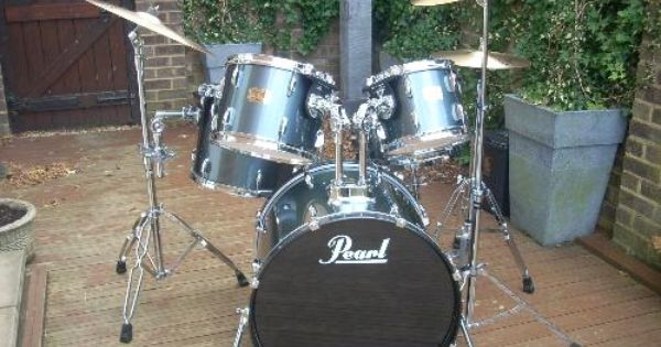 Pearl Export Drum Kit 5 Piece Charcoal Metallic Pearl Export Fusion Size Kit 10 And 12 Mounted Toms 14 Mounted Floor Tom 14 Drum Kits Drums Snare Drum
