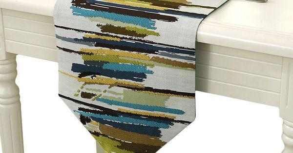Gorgeous Linen Table Runner Blue Pattern 79x12