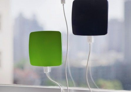 Solar phone-charger for road trips or life in general. The Window solar charger has an ABS plastic case with a PV panel surrounded by silicone pads capable of temporarily sticking to the glass of a window.