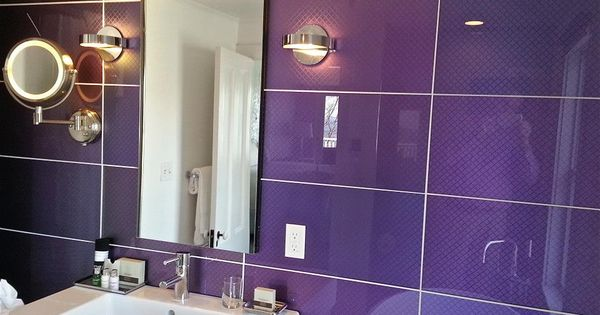 Purple Modono Glass panels used for accent wall in an ...