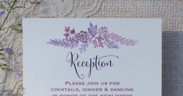 Romantic Vineyard wedding invitations, hand painted watercolor grapes flowers and vines, purple