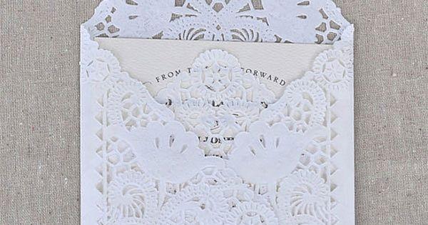 SAMPLE Lace Wedding Invitation Envelope Liner, Paper Doily Lace Invitation Liner, Embellishment,