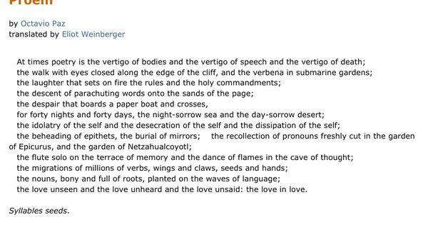 An analysis of octavio pazs poem as one listens to the rain
