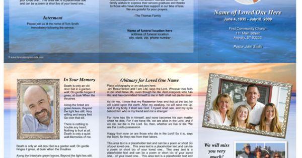 Dusk Funeral Trifold Brochure Template Celebration Of