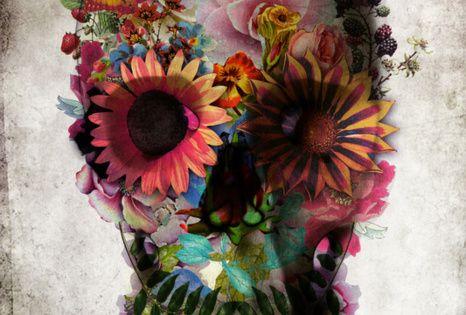 floral skull tattooideas