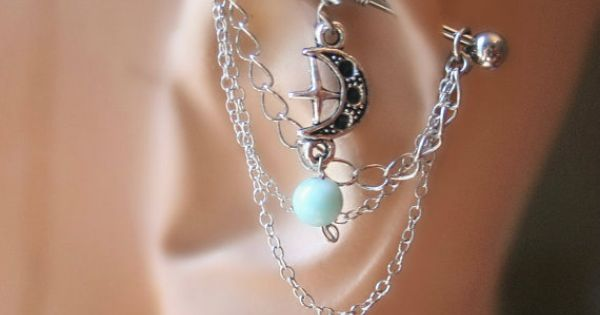 Industrial Barbell Ear Piercing-Earring Jewelry-Dangle Silver Chains-Surgical Steel-14g-14 G Gauge-Larimar Stone and