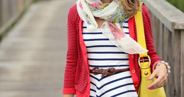 Stripe dress with 2 pops of color - perfect summer outfit!
