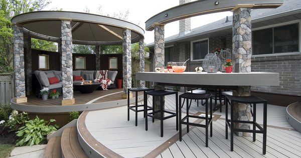 This funky deck features three circular levels coming for Balcony ki design