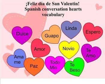 Spanish Valentine S Day Vocabulary Teaching Spanish Spanish Teaching Resources Learning Spanish