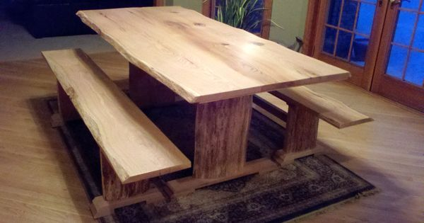 Red Oak Live Edge Dining Table And Benches Decor Ideas