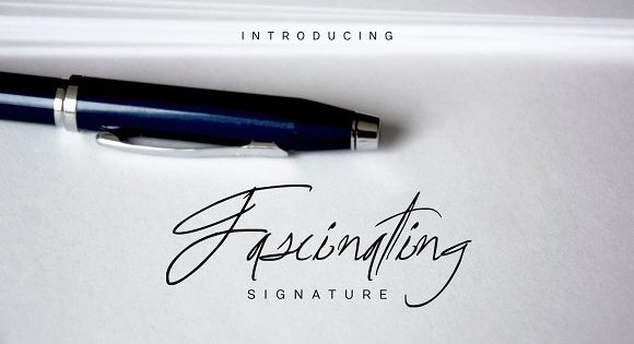 Fascinating Signature font – hand-drawn script font, great for logo signatures