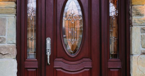 Elegant Brown Wood Lighted Masonite Exterior Entry Doors