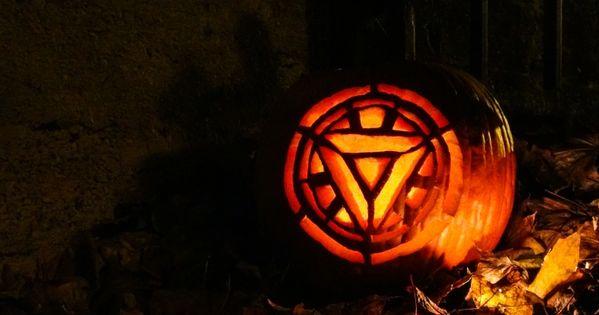 Iron man tony stark arc reactor pumpkin carving for