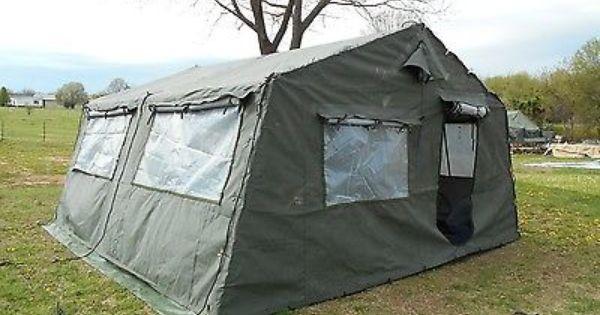 Military Surplus 16x16 Frame Tent Plus Liner Very Good