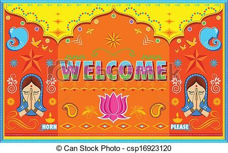 Vector Illustration Of Welcome Background In Indian Truck Paint