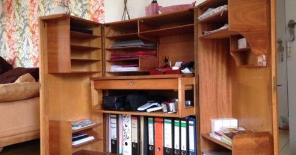 60er Mid Century Vintage Teak Schreibtisch Schrank Sekretar Schreibtisch Schrank Schreibtisch Teak