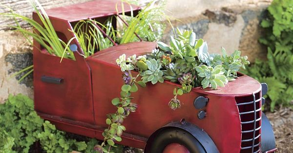 Red Metal Planter: Vintage Metal Truck Cab Planter~ Add A Truckload Of Charm