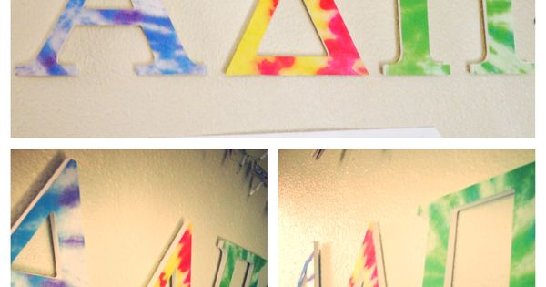 tie dye adpi letters αδπ things i ve made