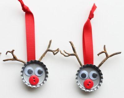 Adornos navide os con chapas botones y materiales - Adornos navidenos con material reciclado para ninos ...
