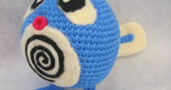 I made Poliwag from a DK weight yarn. It is 16cm tall ...