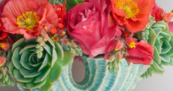 vintage vase & blooms PRETTY… poppies and garden roses! -colours