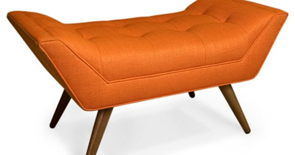 mid century inspired orange ottoman