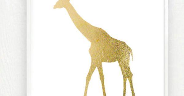 Gold Giraffe Zoo Art Print In Metallic Goldleaf 8x10