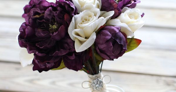 Plum Peonies and White Roses