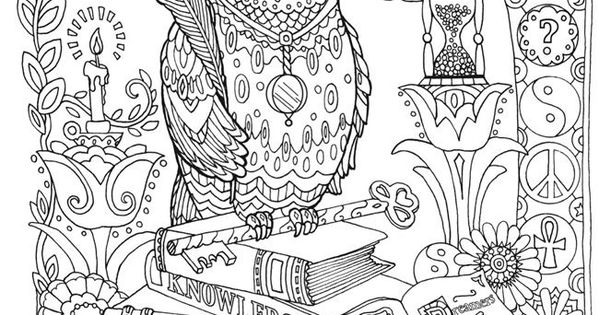 Advanced Coloring Pages Owls : Owl abstract doodle zentangle coloring pages colouring