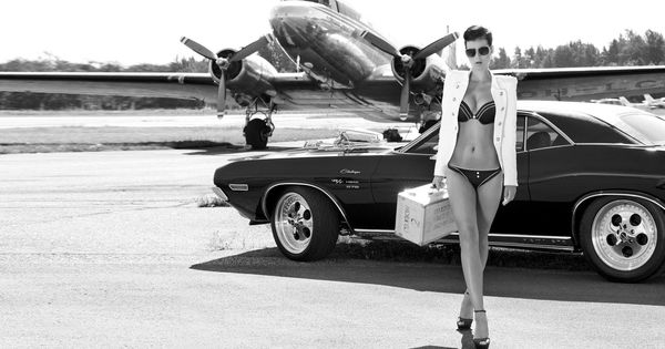 Dodge Challenger Women Muscle Cars Model Black Aircraft ...