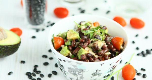 avo, blackbean + tomato salad.