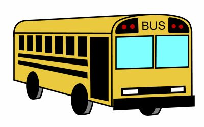 Great Cartoon School Bus Colored In Yellow And Blue