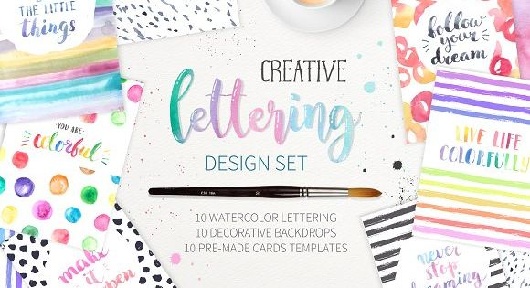 Watercolor Lettering Creative Set by LarysaZabrotskaya on @creativemarket