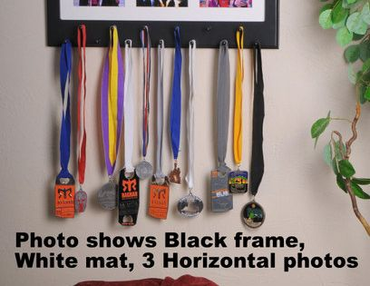Black Sport Medal display with photo frame. -- Would be great for