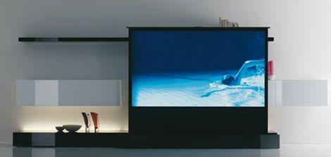 A Tv Wall Unit With A Projector Sceen Hidden Below Iv Home